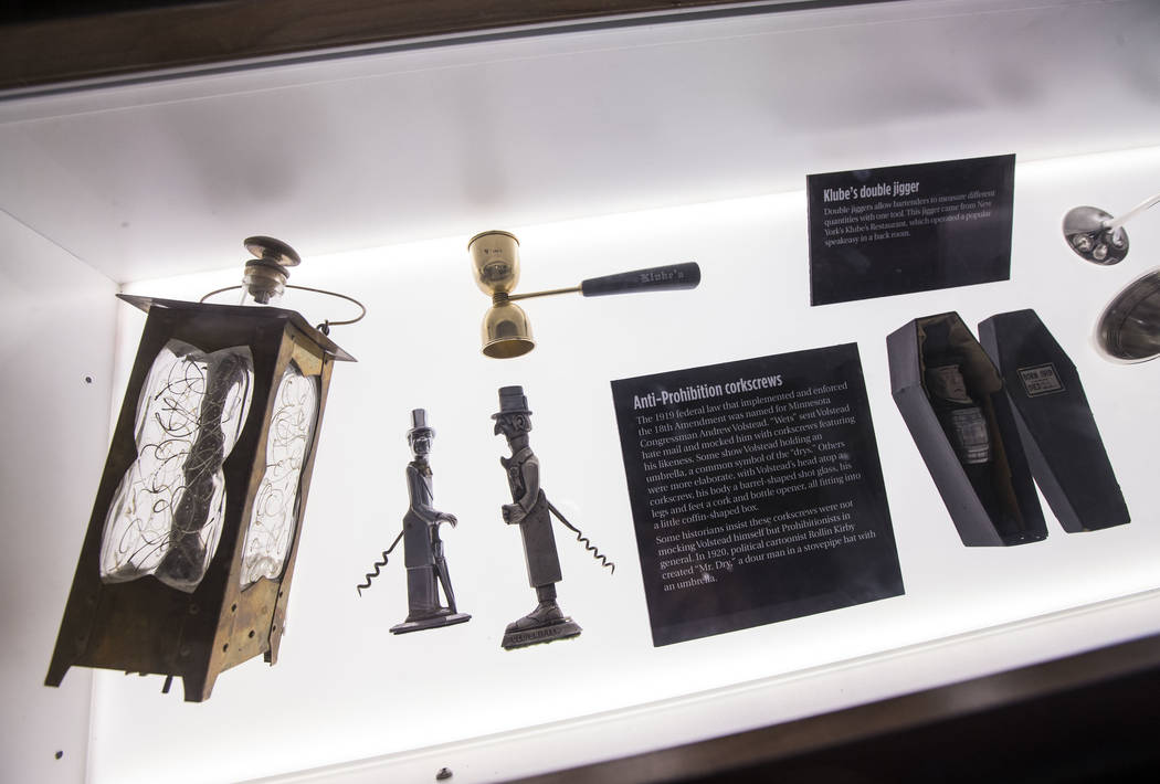Prohibition-era artifacts in the speakeasy at The Underground at The Mob Museum in downtown Las Vegas on Saturday, April 14, 2018. The basement-level exhibition of the Prohibition era features a w ...