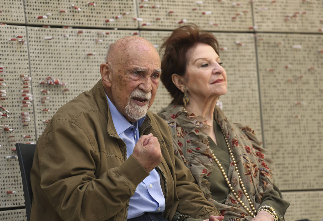 In this Wednesday, April 11, 2018, photo, childhood Holocaust survivors Simon Gronowski and Alice Gerstel Weit are interviewed at the Los Angeles Holocaust Museum memorial. After the Nazis invaded ...
