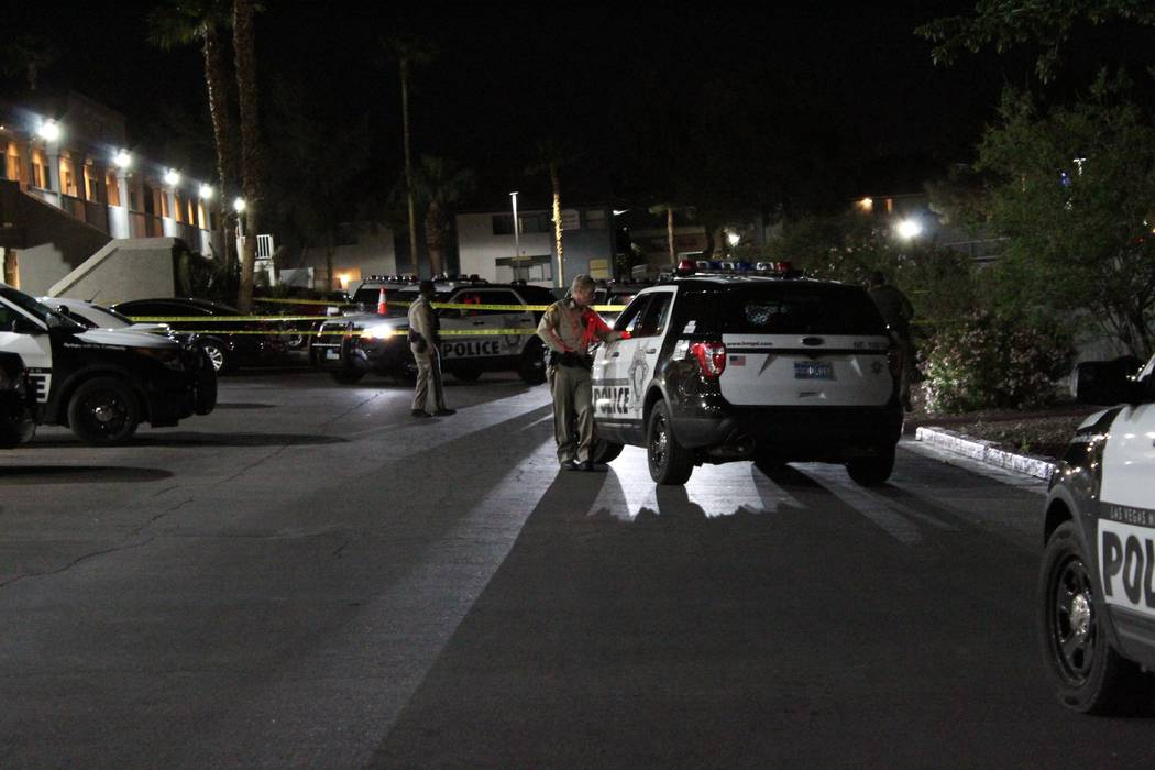 Las Vegas police are investigating an incident in northeast Las Vegas after a woman was grazed by a bullet fired outside her valley apartment. (Max Michor/Las Vegas Review-Journal)