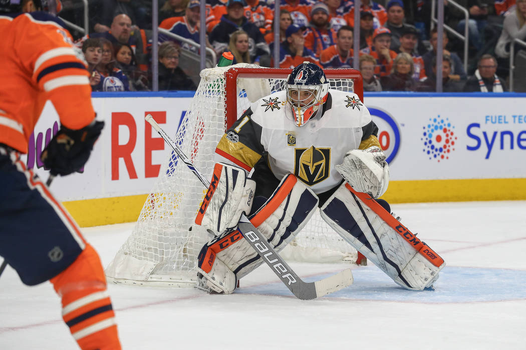 EDMONTON, AB - NOVEMBER 14, 2017: Vegas Golden Knights Goalie Dylan Ferguson (1) watches an Oiler attack the net in his first ever NHL game during the Edmonton Oilers game versus the Las Vegas Gol ...