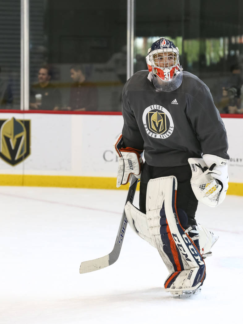 Vegas Golden Knights goaltender Dylan Ferguson (1) takes part in a scrimmage game during the NHL team's practice at the City National Arena in Las Vegas, Saturday, Sept. 16, 2017. Richard Brian La ...