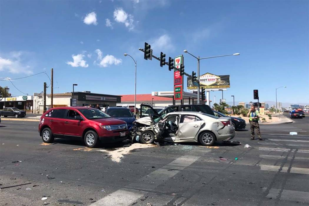 A woman was killed in a multivehicle crash at Warm Springs Road and Las Vegas Boulevard South in south central Las Vegas on Thursday, April 12, 2018. (Nevada Highway Patrol/Twitter)