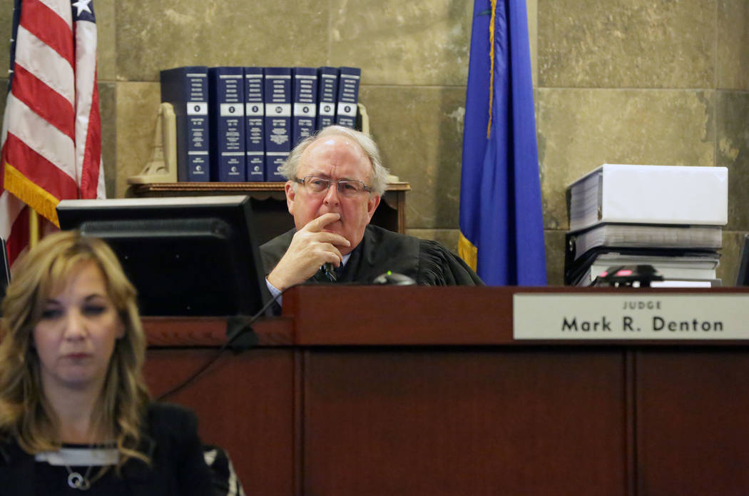 Judge Mark R. Denton listens to opening statements during a civil trial against magician David Copperfield and the MGM Grand at the Regional Justice Center in Las Vegas on Friday, April 13, 2018. ...