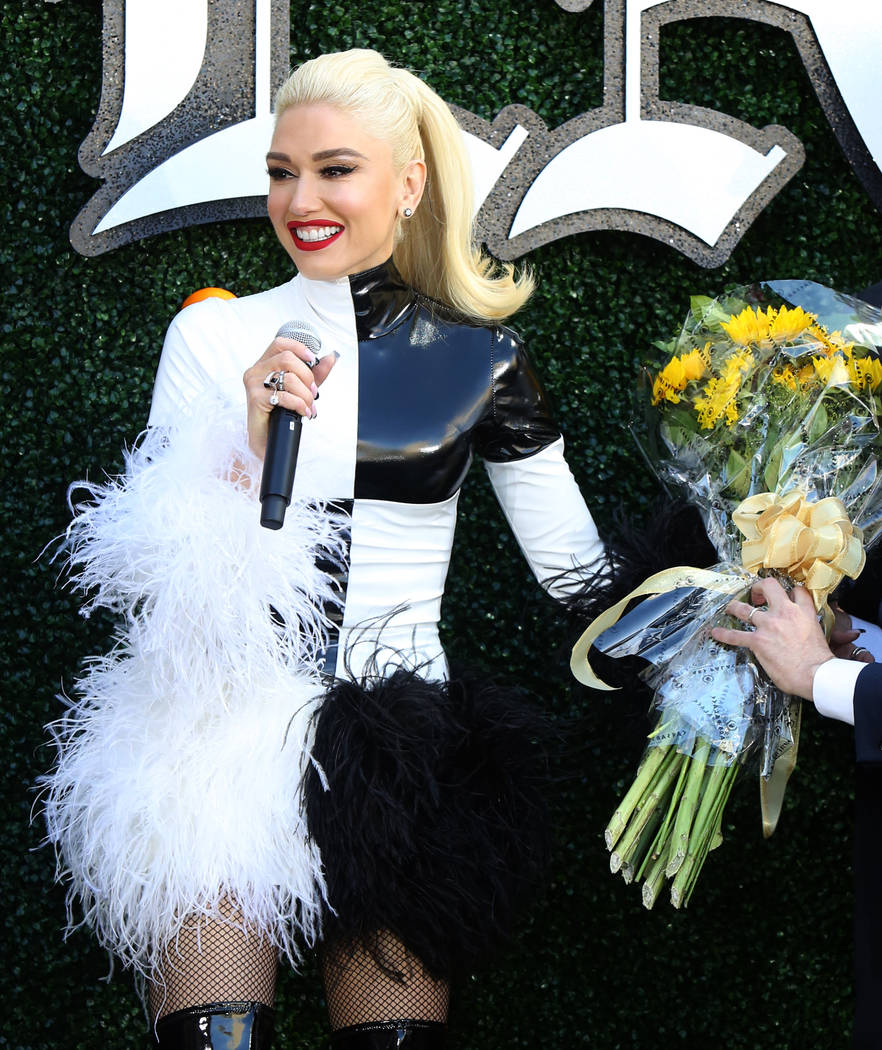"Gwen Stefani speaks at an event at Planet Hollywood hotel-casino on Friday, April 13, 2018, in Las Vegas. Stefani announced her ""Just a Girl"" residency at Zappos Theater beginning June 2 ..."