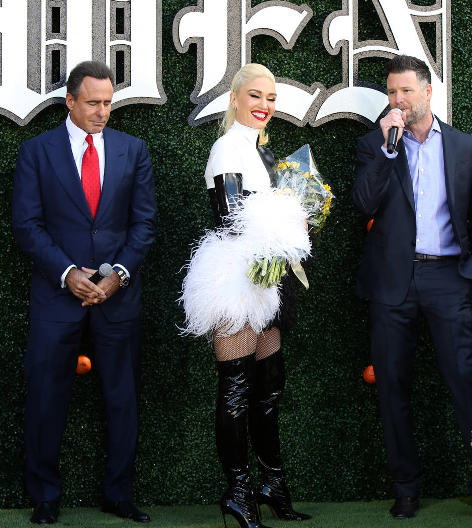 "Gwen Stefani poses for photographers as she appears at an event at Planet Hollywood hotel-casino on Friday, April 13, 2018, in Las Vegas. Stefani announced her ""Just a Girl"" residency at ..."