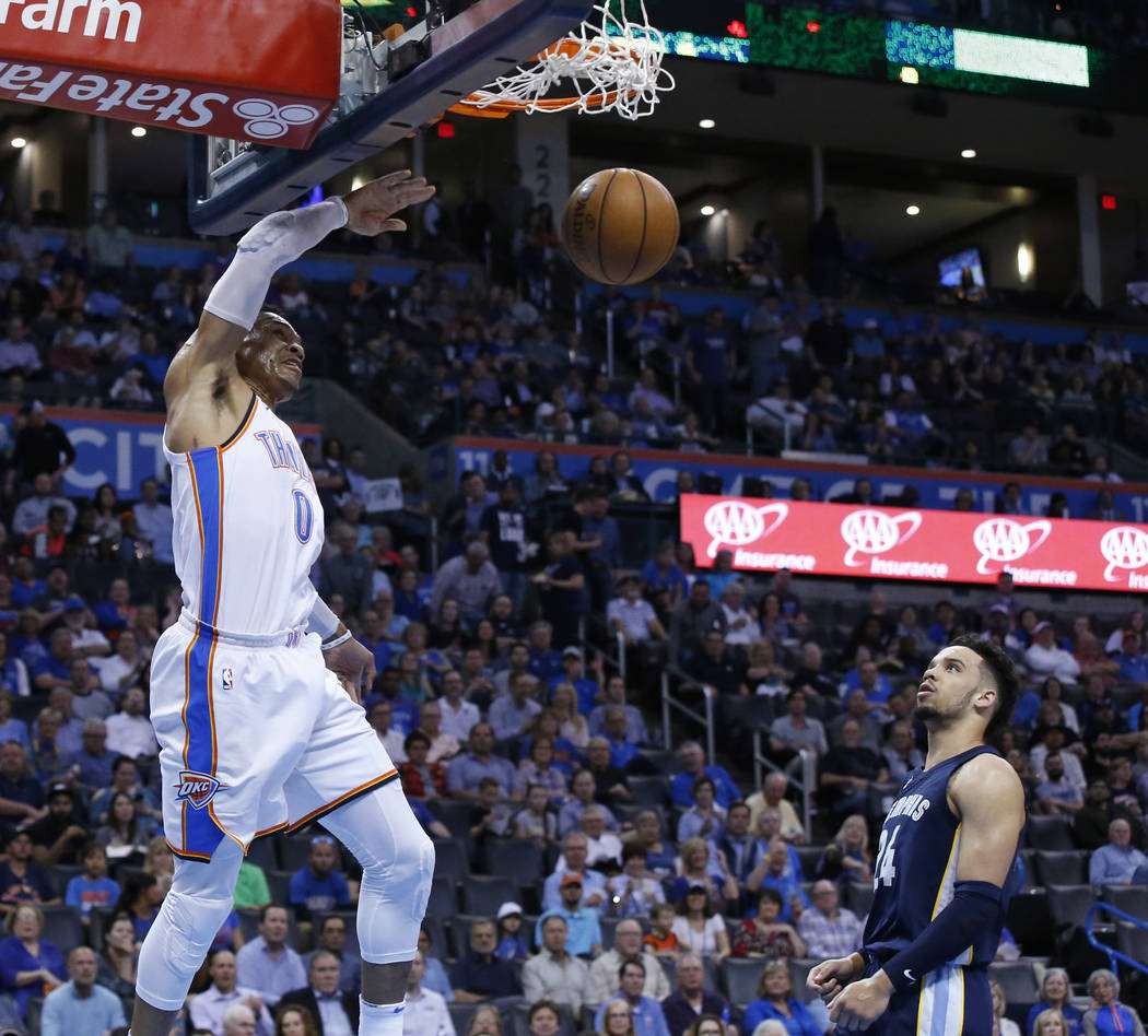 Oklahoma City Thunder guard Russell Westbrook (0) dunks in front of Memphis Grizzlies forward Dillon Brooks (24) in the second half of an NBA basketball game in Oklahoma City, Wednesday, April 11, ...