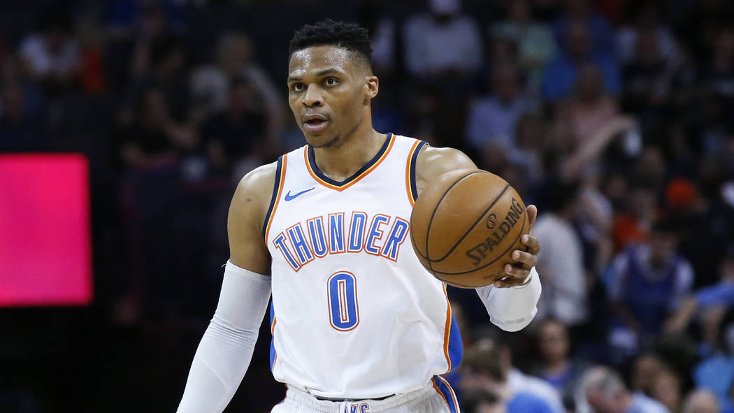 Oklahoma City Thunder guard Russell Westbrook (0) during of an NBA basketball game between the Memphis Grizzlies and the Oklahoma City Thunder in Oklahoma City, Wednesday, April 11, 2018. (AP Phot ...