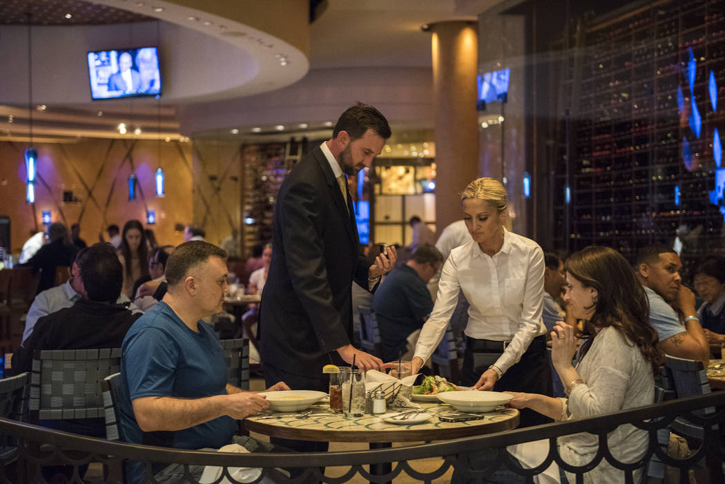 Customers dine at Emeril's New Orleans Fish House restaurant inside the MGM Grand hotel-casino in Las Vegas on Friday, March 27, 2015. (Martin S. Fuentes/Las Vegas Review-Journal)