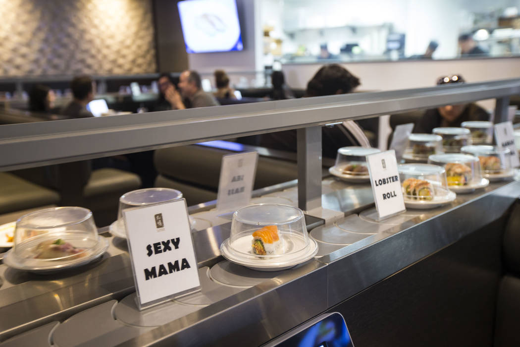 A Sexy Mama roll passes by on the conveyor belt at Sapporo Revolving Sushi in Las Vegas on Wednesday, April 25, 2018. Chase Stevens Las Vegas Review-Journal @csstevensphoto