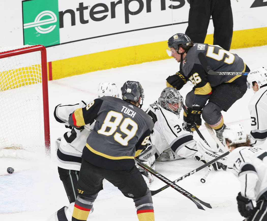 Golden Knights left wing Erik Haula (56) scores the game winning goal past Los Angeles Kings goaltender Jonathan Quick (32) in double-overtime to win game two of their first-round playoff series o ...
