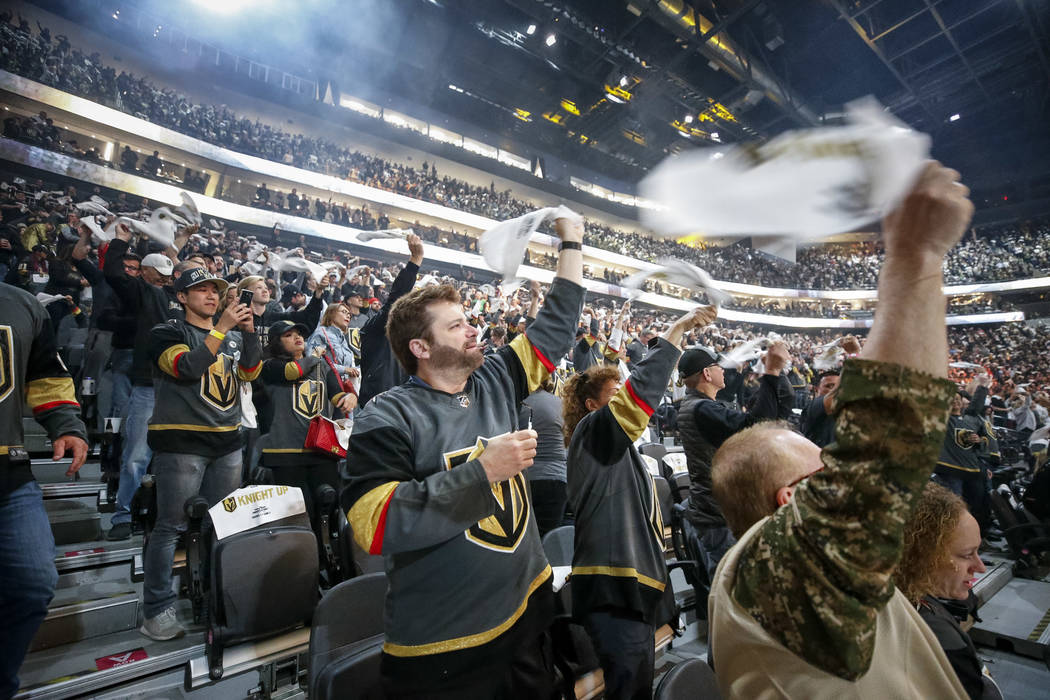 Fans cheer before the start of Game 2 of an NHL hockey first-round playoff series between the Golden Knights and the Los Angeles Kings at T-Mobile Arena in Las Vegas, Friday, April 13, 2018. Richa ...