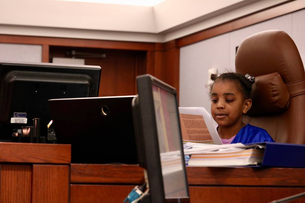 Taliyah Crowder, 10, plays the part of judge in a mock trial in Courtroom 15D of the Regional Justice Center in Las Vegas, Friday, April 13, 2018. Madelyn Reese/Las Vegas Review-Journal