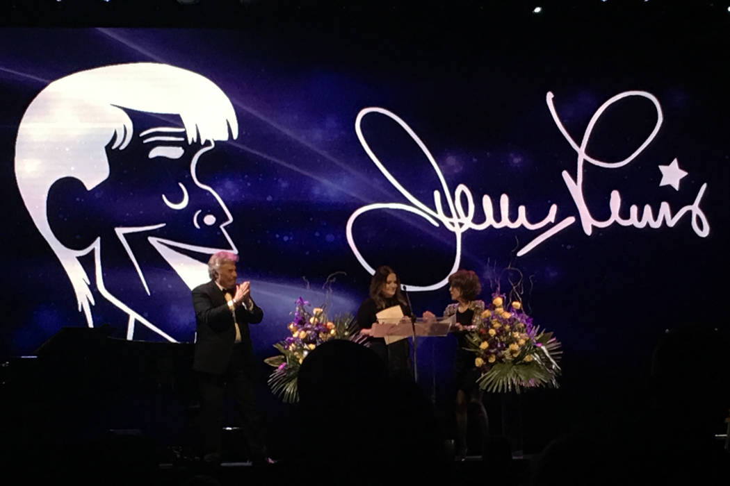 Tony Orlando, Danielle Lewis and Deana Martin take part in a celebration of Jerry Lewis' life at the South Point showroom on Monday, September 4, 2017. (John Katsilometes/Las Vegas Review-Journal)