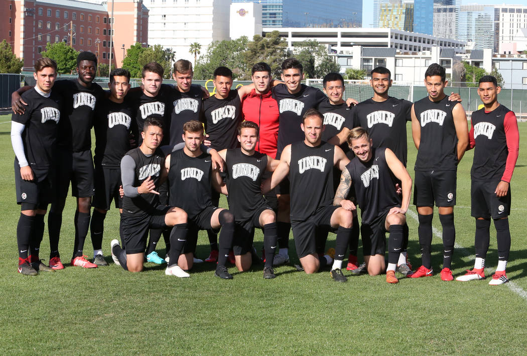 UNLV soccer team, including first-generation college students, standing, pose for photo with their teammates before team practice on Wednesday, April 18, 2018, in Las Vegas. Bizuayehu Tesfaye/Las ...
