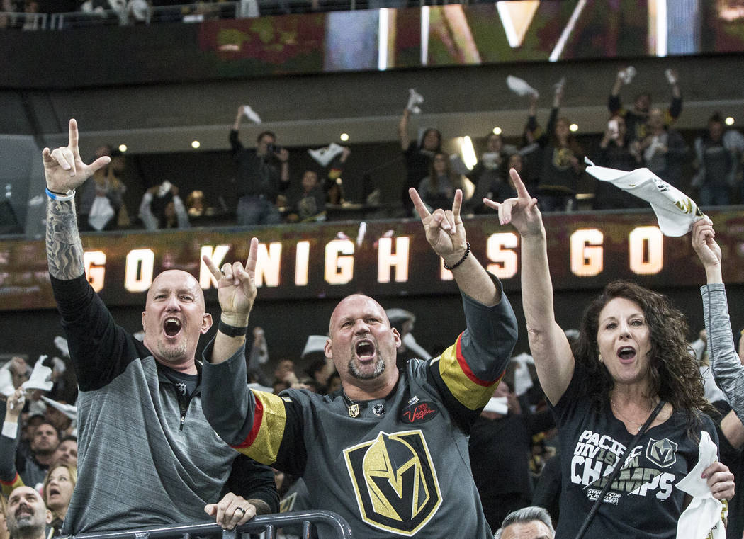 Golden Knights fans cheer after Alex Tuch scored against Los Angeles Kings goaltender Jonathan Quick (32) in the first period of game two of their first-round playoff series on Friday, April 13, 2 ...