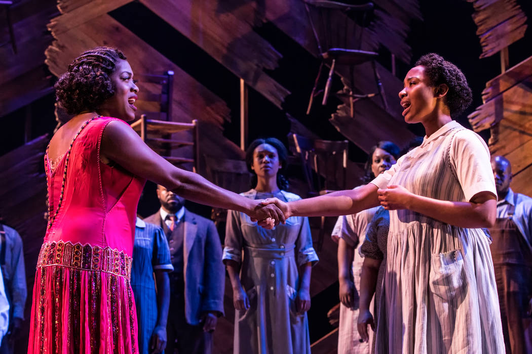 "Matthew Murphy Carla R. Stewart and Adrianna Hicks and the North American tour cast of ""The Color Purple."""
