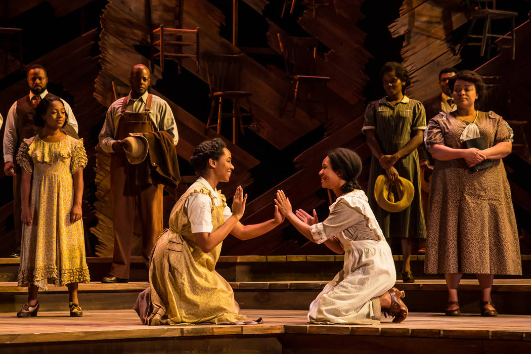 "Adrianna Hicks and N'Jameh Camara in the national tour of the Tony-winning ""Color Purple"" revival. Matthew Murphy"