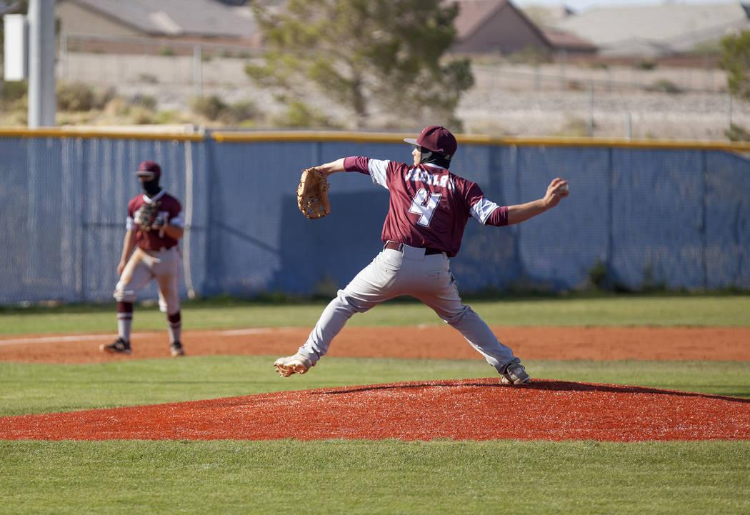 Cimarron-Memorial High School's Derek Decolati (4) pitches the ball against Centennial High School in a game at Centennial High School in Las Vegas, Friday, April 13, 2018. Rachel Aston Las Vegas ...