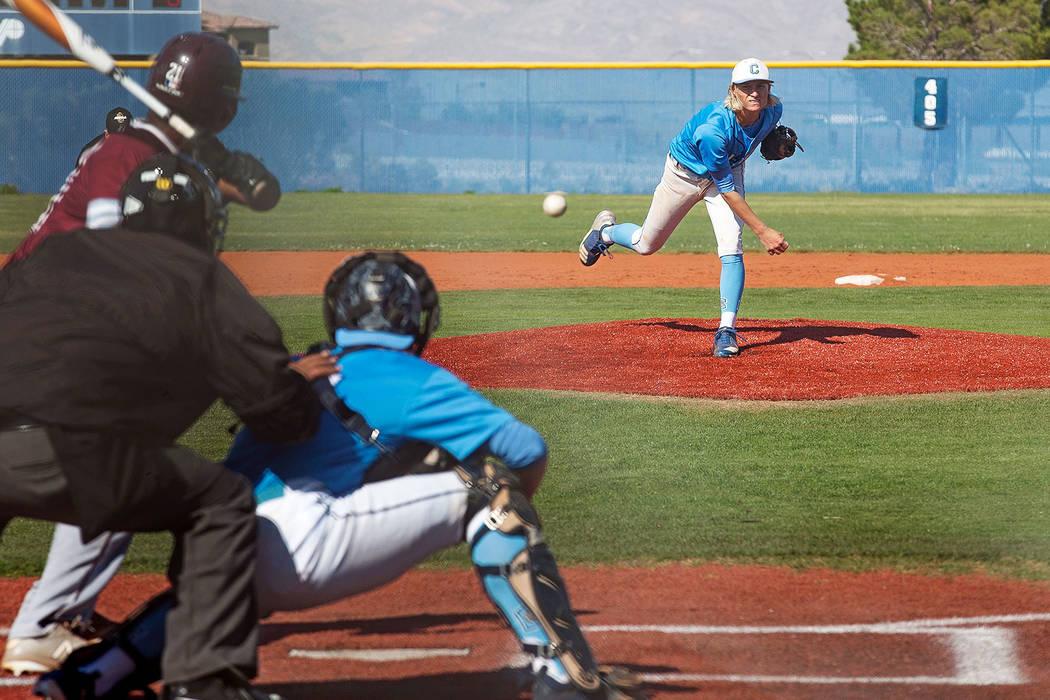 Centennial High School's Nik Dobar (2) pitches the ball in a game against Cimarron-Memorial High School at Centennial High School in Las Vegas, Friday, April 13, 2018. Rachel Aston Las Vegas Revie ...