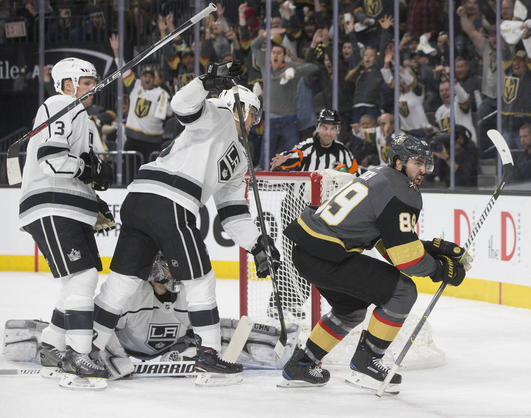Golden Knights right wing Alex Tuch (89) celebrates after scoring a first-period goal during Vegas' game two playoff matchup with Los Angeles on Friday, April 13, 2018, at T-Mobile Arena, in Las ...