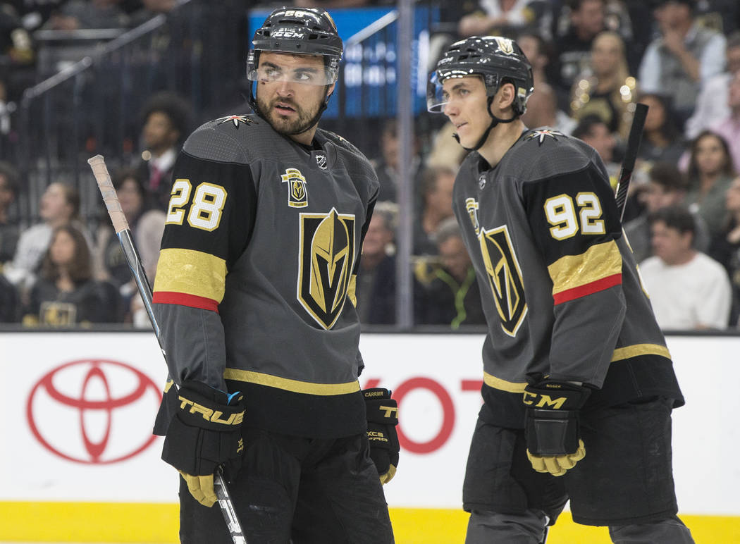 Golden Knights left wing William Carrier (28) and center Tomas Nosek (92) in the third period of game two of their first-round playoff series on Friday, April 13, 2018, at T-Mobile Arena, in Las V ...