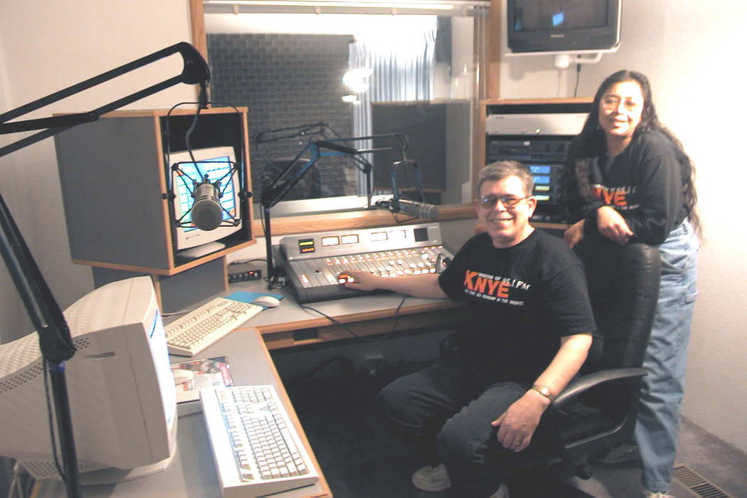 Art and Ramona Bell pose in the control room of their new radio station KNYE-FM in this undated photo. (Las Vegas Review-Journal)