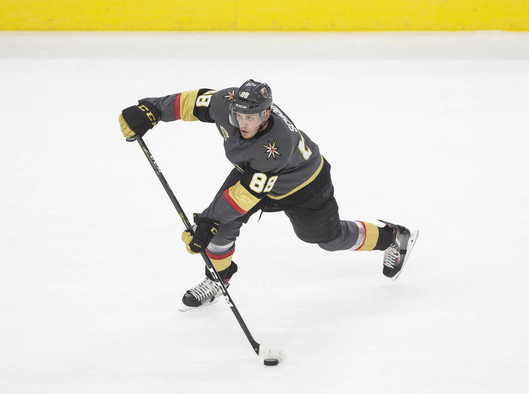 Golden Knights defenseman Nate Schmidt (88) shoots on goal during Vegas' home matchup with the Montreal Canadians on Saturday, February 17, 2018, at T-Mobile Arena, in Las Vegas. Benjamin Hager La ...