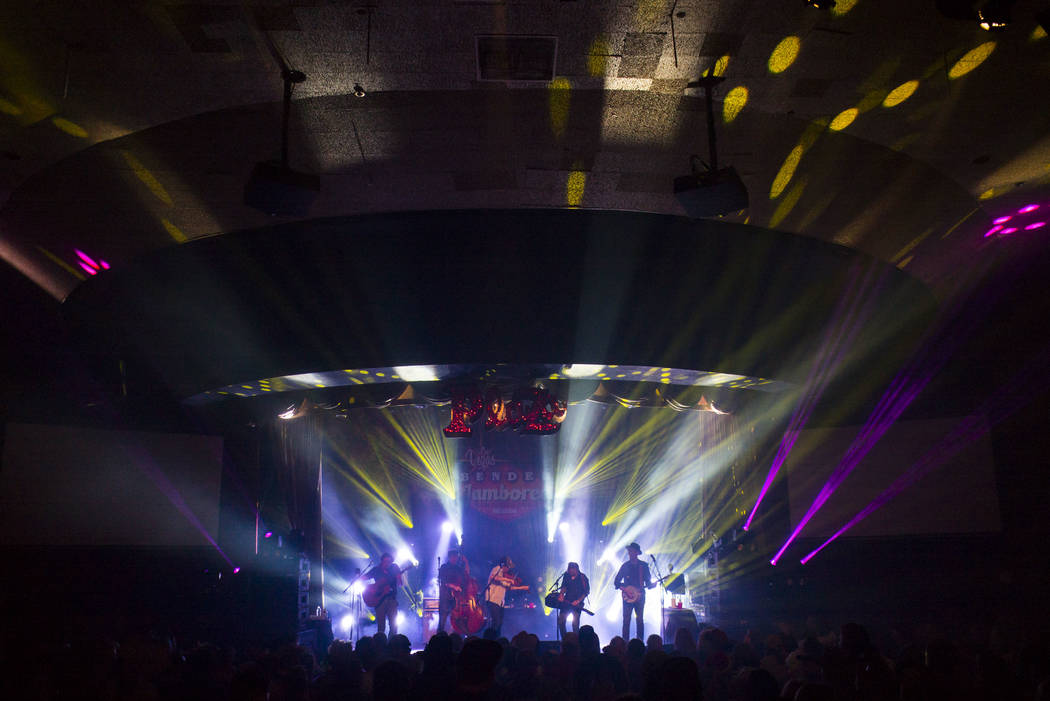 The Infamous Stringdusters perform during the first night of the Bender Jamboree music festival at the Plaza in downtown Las Vegas on Thursday, April 12, 2018. Chase Stevens Las Vegas Review-Journ ...