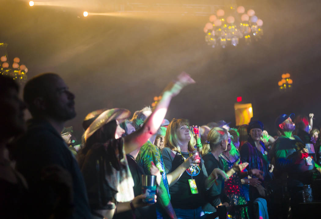 Fans react as The Infamous Stringdusters perform during the first night of the Bender Jamboree music festival at the Plaza in downtown Las Vegas on Thursday, April 12, 2018. Chase Stevens Las Vega ...