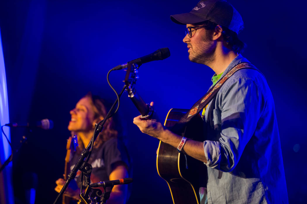 Emily Frantz, left, and Andrew Marlin of Mandolin Orange perform during the first night of the Bender Jamboree music festival at the Plaza in downtown Las Vegas on Thursday, April 12, 2018. Chase ...