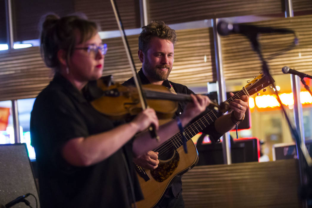 The Jon Stickley Trio performs during the first night of the Bender Jamboree music festival at the Plaza in downtown Las Vegas on Thursday, April 12, 2018. Chase Stevens Las Vegas Review-Journal @ ...