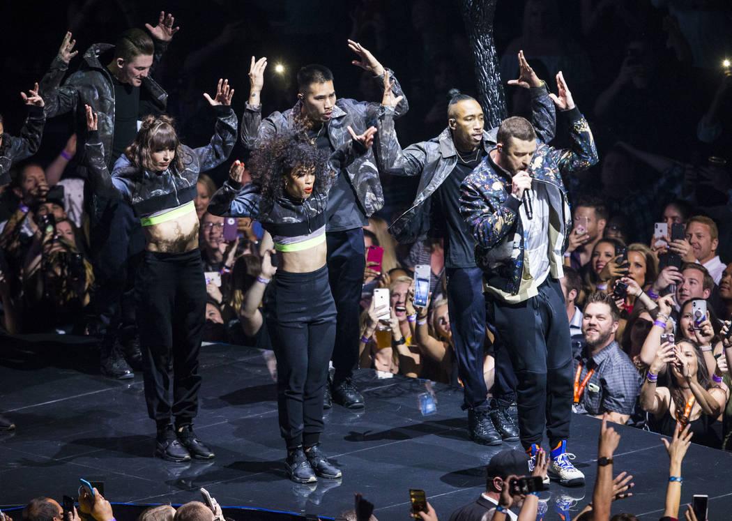 Justin Timberlake, right, performs at T-Mobile Arena in Las Vegas on Saturday, April 14, 2018. Chase Stevens Las Vegas Review-Journal @csstevensphoto
