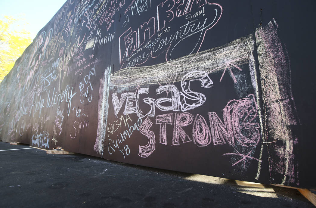 """Vegas Strong"" is written on a wall at the ACM Party for a Cause at Stoney's Rockin' Country in Las Vegas on Friday, April 13, 2018. Chase Stevens Las Vegas Review-Journal @csstevensphoto"