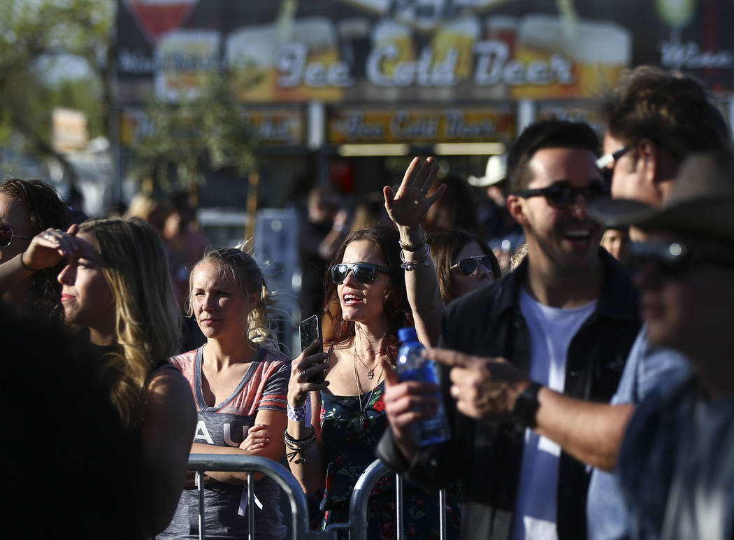 Country music fans listen as Filmore performs during the ACM Party for a Cause at Stoney's Rockin' Country in Las Vegas on Friday, April 13, 2018. Chase Stevens Las Vegas Review-Journal @csstevens ...