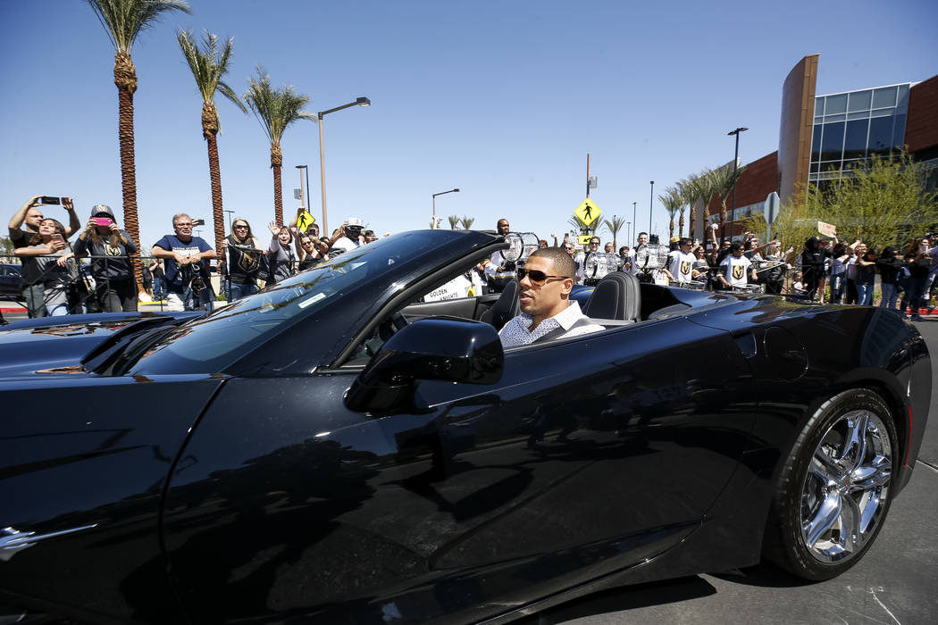 Golden Knights right wing Ryan Reaves leaves the City National Arena as fans cheer during a send-off event ahead of games three and four of the NHL playoff series against Los Angeles Kings on Satu ...