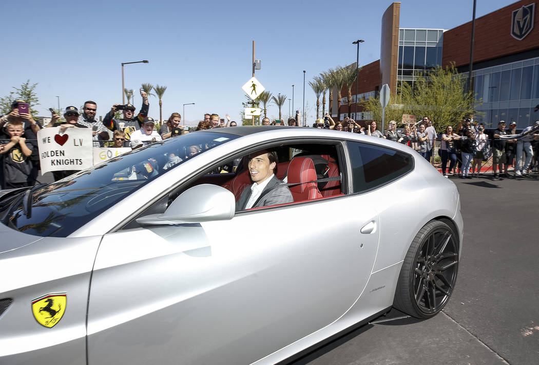Vegas Golden Knights goaltender Marc-Andre Fleury leaves the City National Arena as fans cheer during a send-off event ahead of games three and four of the NHL playoff series against Los Angeles K ...