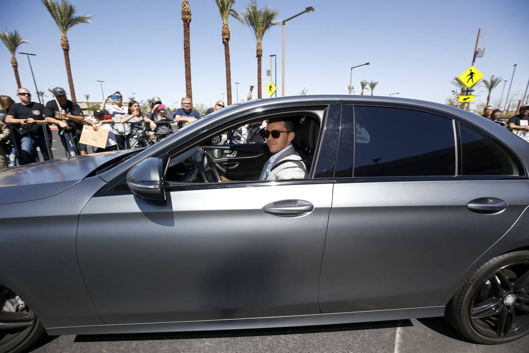 Golden Knights center Jonathan Marchessault (81) leaves the City National Arena as fans cheer during a send-off event ahead of games three and four of the NHL playoff series against Los Angeles Ki ...