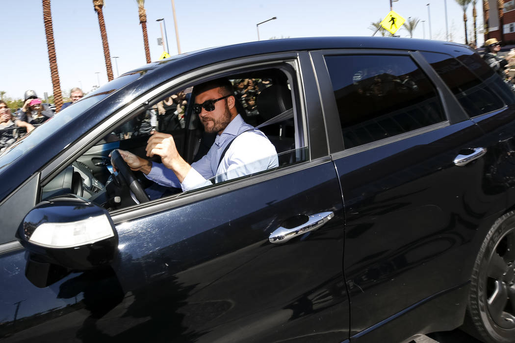 Golden Knights left wing William Carrier (28) leaves the City National Arena as fans cheer during a send-off event ahead of games three and four of the NHL playoff series against Los Angeles Kings ...