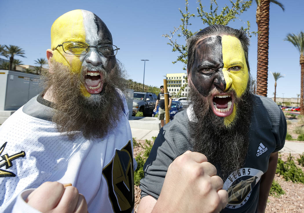 Golden Knights fans pose outside City National Arena during a send-off event ahead of games three and four of the NHL playoff series against Los Angeles Kings on Saturday, April 14, 2018. Richard ...