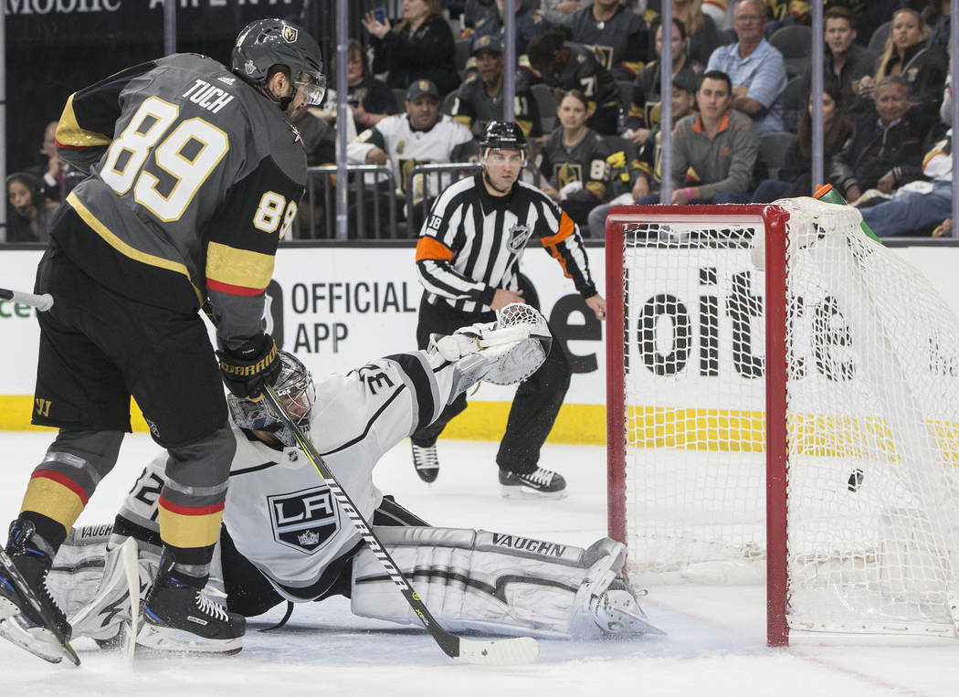 Golden Knights right wing Alex Tuch (89) scores against Los Angeles Kings goaltender Jonathan Quick (32) in the first period of game two of their first-round playoff series on Friday, April 13, 20 ...