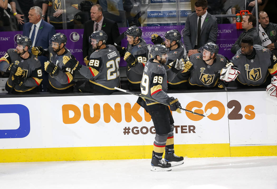 Golden Knights right wing Alex Tuch (89) celebrates a first period goal during Game 2 of an NHL hockey first-round playoff series between the Golden Knights and the Los Angeles Kings at T-Mobile A ...