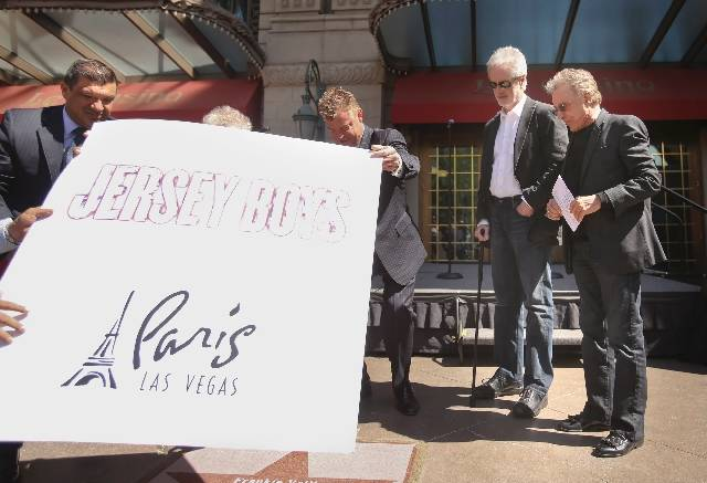 Original Four Seasons group members Frankie Valli, right, and Bob Gaudio stand while a star honoring them is unveiled at the Las Vegas Walk of Stars ceremony Thursday in front of Paris Las Vegas. ...