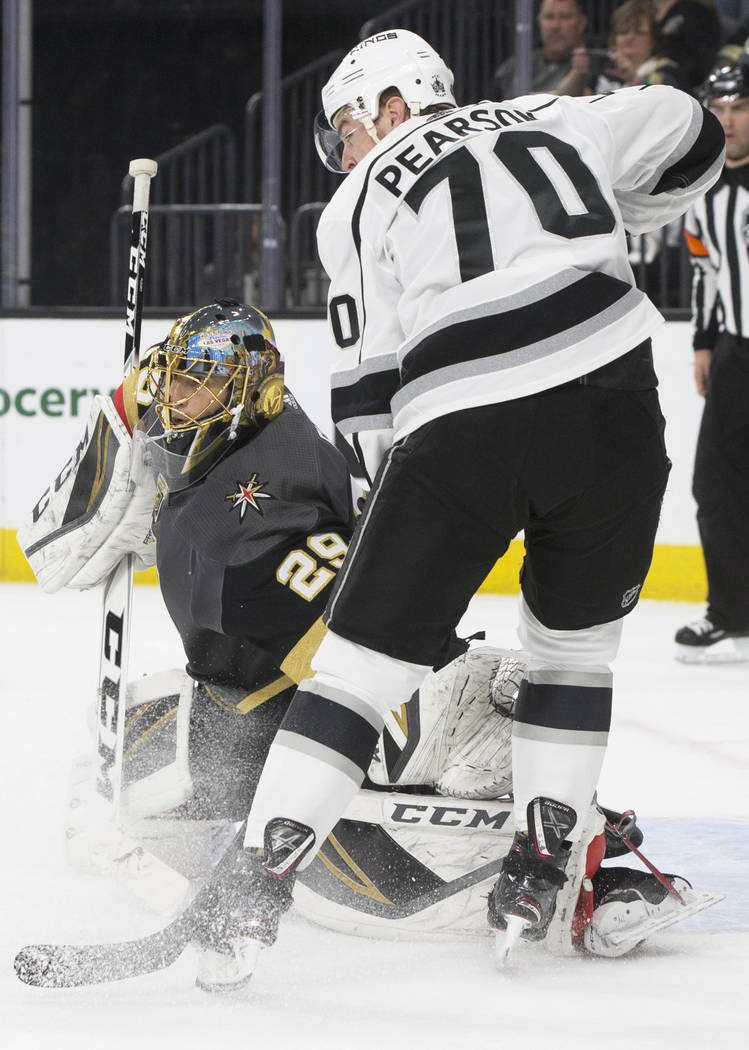 Golden Knights goaltender Marc-Andre Fleury (29) makes a save against Los Angeles Kings left wing Tanner Pearson (70) in the second period of game two of their first-round playoff series with Los ...