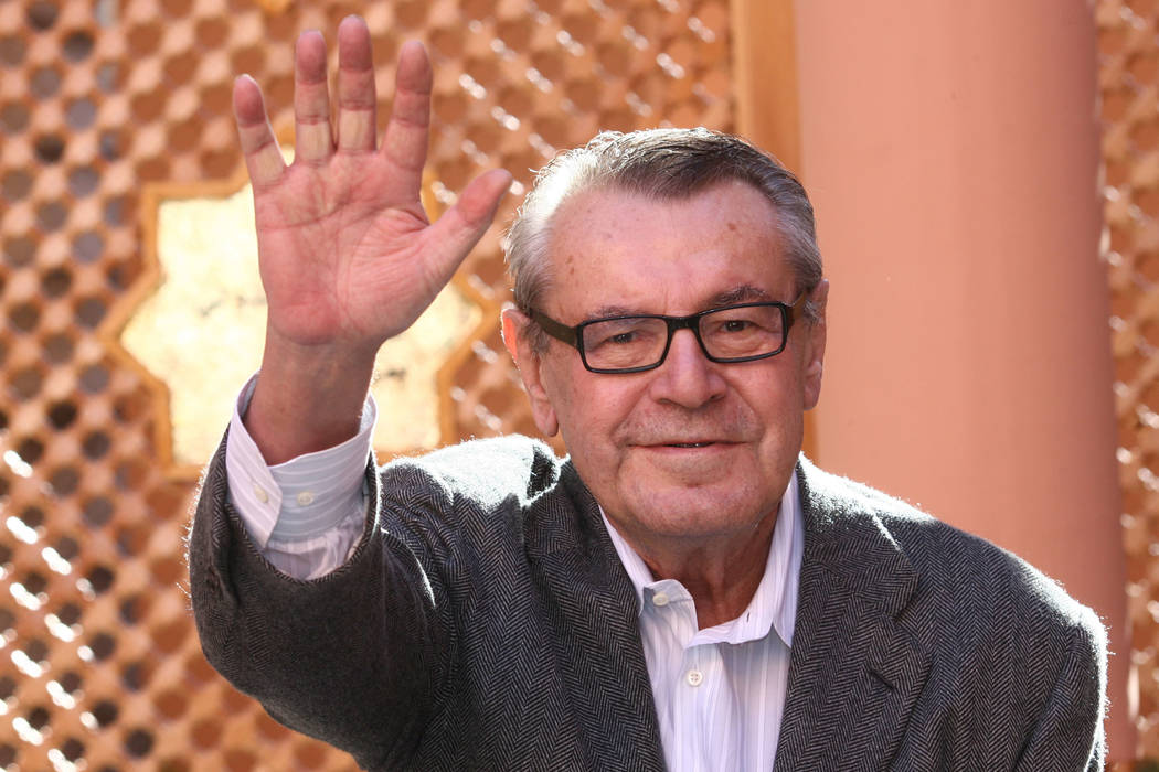 Czech-born filmmaker Milos Forman poses during a photo call on the second day of the Marrakesh 7th International Film Festival in Marrakesh, Morocco, in 2007. (AP Photo/Abdeljalil Bounhar, File)