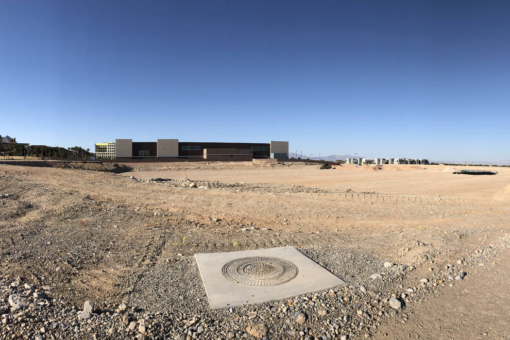 The new site of the Las Vegas 51s ballpark in Summerlin is seen on Saturday, April 14, 2018. (Betsy Helfand/Las Vegas Review-Journal