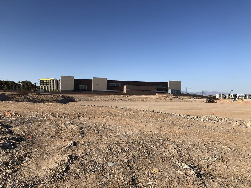 The new site of the Las Vegas Ballpark in Summerlin is seen on Saturday, April 14, 2018. (Betsy Helfand/Las Vegas Review-Journal