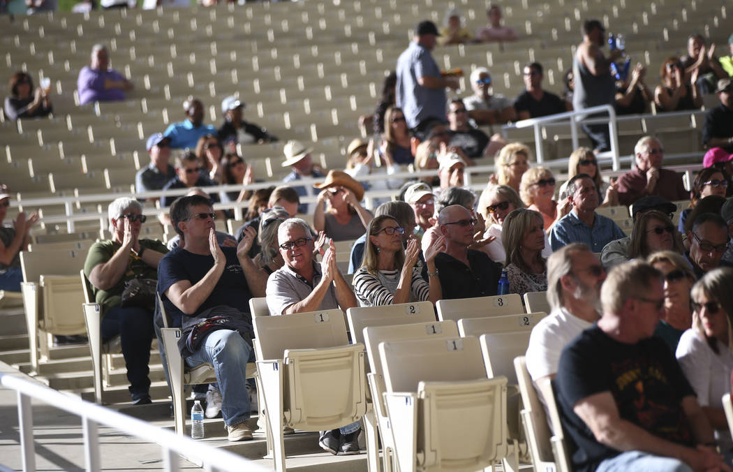 Attendees cheer as Quinn Sullivan performs during Henderson Bluesfest at Henderson Pavilion on Saturday, April 14, 2018. Niederauer, who starred in the School of Rock the Musical production on Bro ...