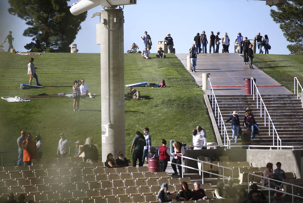 Attendees roam the Henderson Pavilion during Henderson Bluesfest on Saturday, April 14, 2018. Niederauer, who starred in the School of Rock the Musical production on Broadway, has also performed w ...