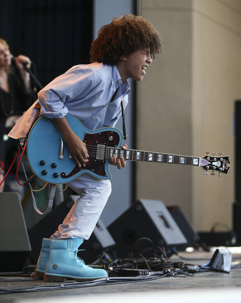 """Fifteen-year-old guitarist Brandon """"Taz"""" Niederauer performs during Henderson Bluesfest at Henderson Pavilion on Saturday, April 14, 2018. Niederauer, who starred in the School of Rock the Mu ..."""