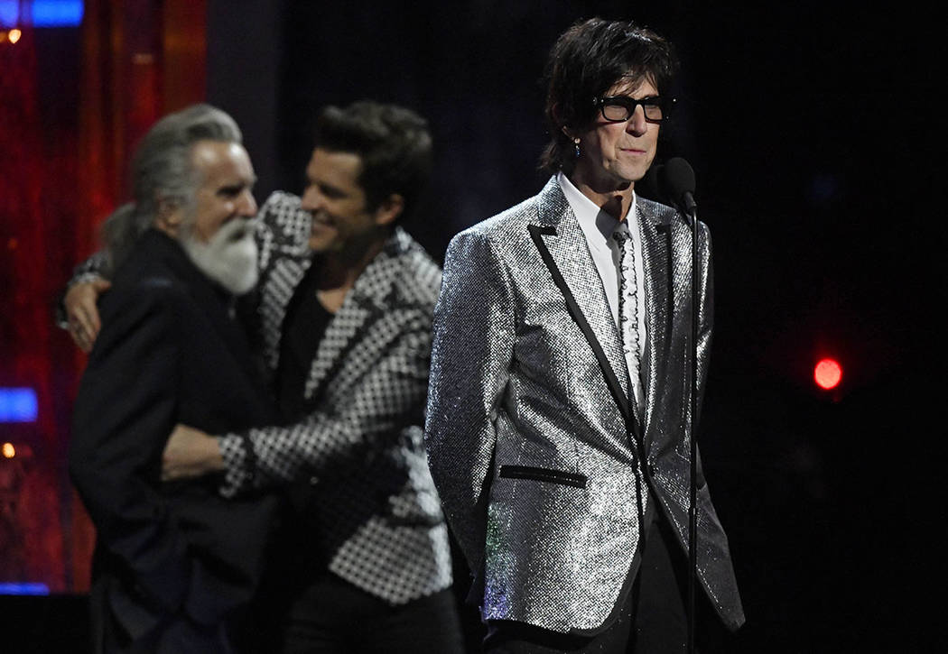 Inductee Ric Ocasek of The Cars speaks during the Rock and Roll Hall of Fame induction ceremony, Saturday, April 14, 2018, in Cleveland. (AP Photo/David Richard)
